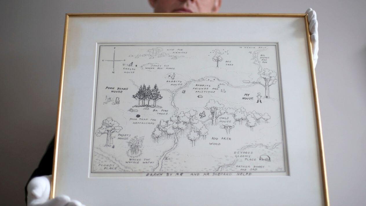Mapa ilustrado de Winnie The Pooh rompió récord en una subasta