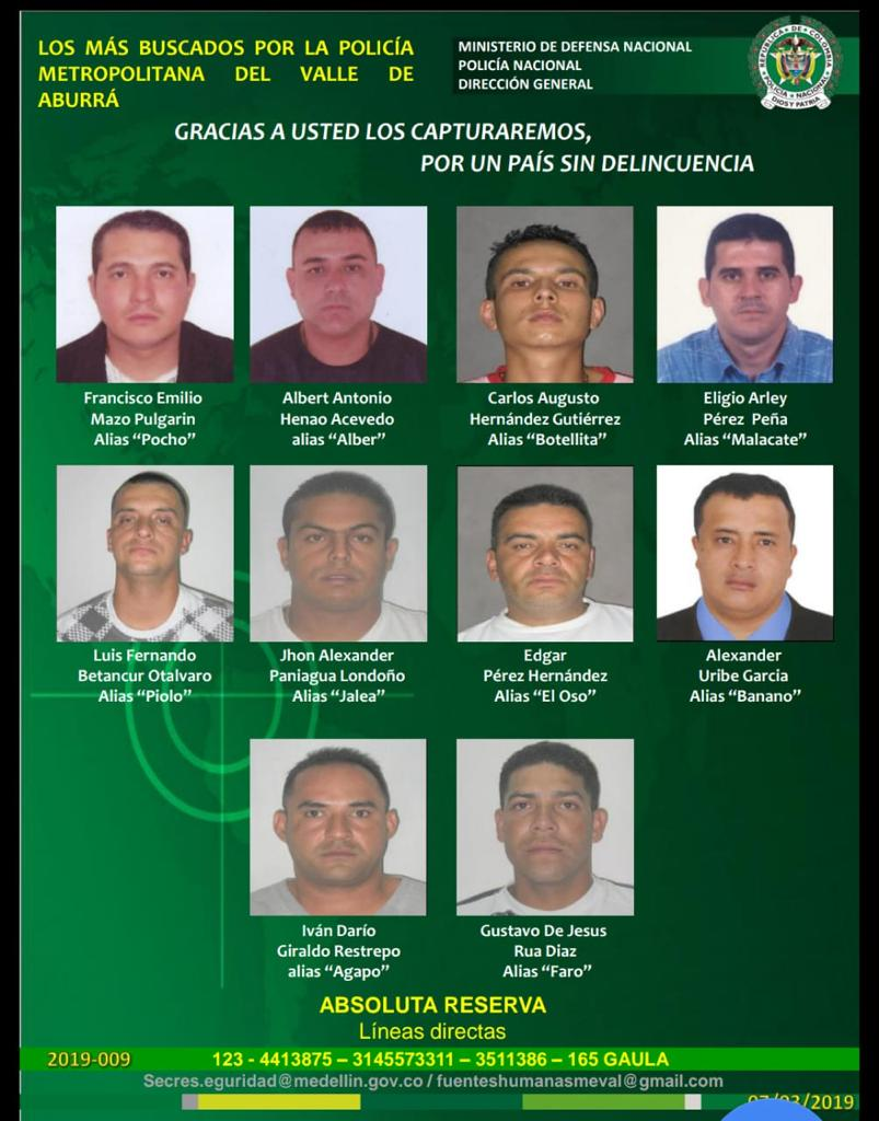 Autoridades revelaron cartel de los más buscados del municipio de Bello
