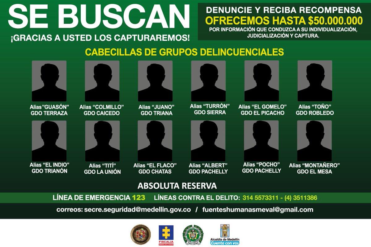 50 millones de pesos de recompensa por cabecillas de bandas de Medellín