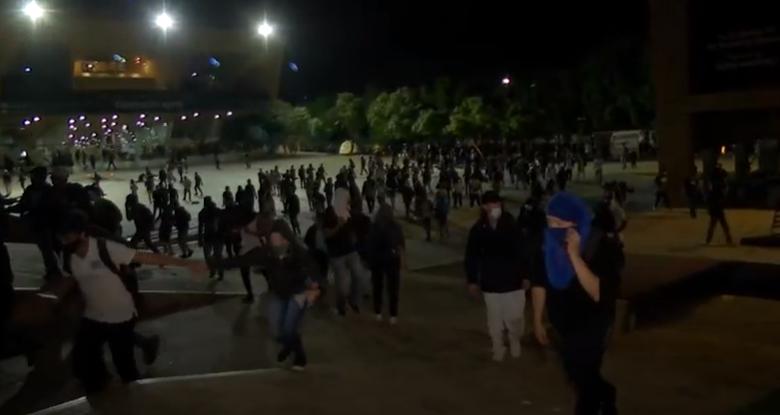 En disturbios terminó concentración en el Parque de Los Deseos