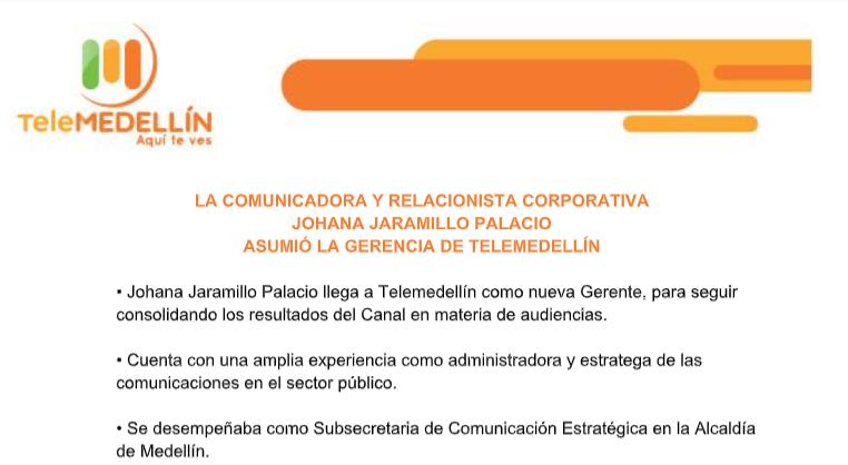 La comunicadora y relacionista corporativa Johana Jaramillo Palacio asumió la Gerencia de Telemedellín