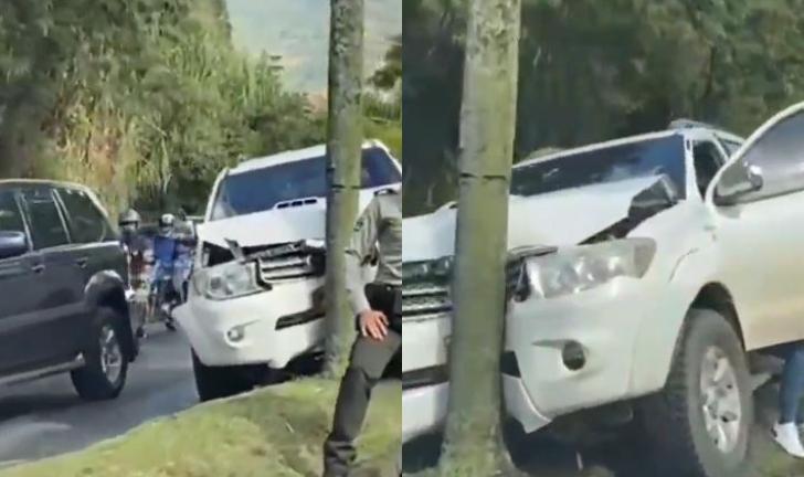 (Video) Camioneta se chocó contra un árbol en Las Palmas